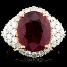 18K Rose Gold 6.07ct Ruby & 2.48ctw Diamond Ring