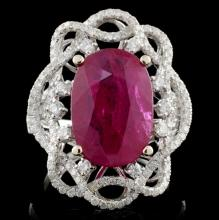 18K White Gold 6.03ct Ruby & 0.96ct Diamond Ring