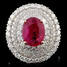 18K Rose Gold 2.23ct Ruby & 2.56ct Diamond Ring