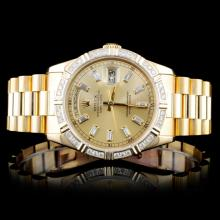 Rolex 18K Day-Date 1.50ctw Diamond Gents Wristwatc