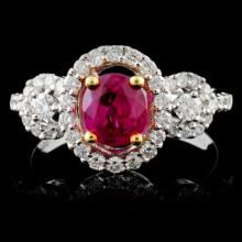 18K White Gold 0.98ct Ruby & 0.50ct Diamond Ring