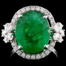 18K White Gold 6.19ct Emerald & 0.82ct Diamond Rin