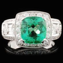 18K Gold 2.31ct Emerald & 1.10ctw Diamond Ring