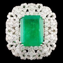 18K Gold 2.19ct Emerald & 4.81ctw Diamond Ring