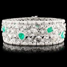 18K Gold 5.58ct Emerald & 10.30ctw Diamond Bracele