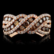 14K Rose Gold 0.85ctw Fancy Color Diamond Ring
