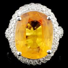 14K Gold 10.91ct Sapphire & 2.40ctw Diamond Ring