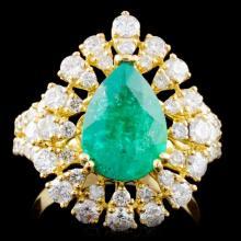 18K Gold 2.12ct Emerald & 1.68ctw Diamond Ring