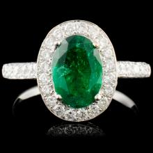 18K Gold 1.29ct Emerald & 1.02ctw Diamond Ring