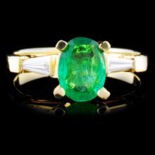 18K Gold 1.33ct Emerald & 0.24ctw Diamond Ring