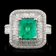 18K White Gold 1.69ct Emerald & 1.35ctw Diamond Ri