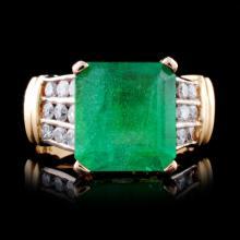 14K Yellow Gold 4.65ct Emerald & 0.63ct Diamond Ri