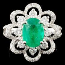 18K Gold 1.71ct Emerald & 0.98ctw Diamond Ring