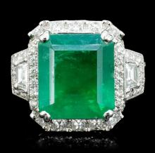 18K White Gold 6.87ct Emerald & 1.70ct Diamond Rin
