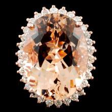 14K Gold 17.86ct Morganite & 0.94ctw Diamond Ring