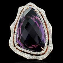 14K Gold 17.57ct Amethyst & 0.98ct Diamond Ring