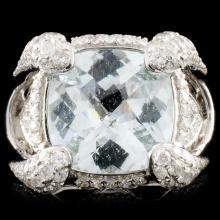 18K Gold 4.55ct Aquamarine & 1.21ctw Diamond Ring