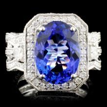 18K Gold 4.66ct Tanzanite & 2.26ctw Diamond Ring