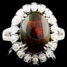 18K Gold 4.07ct Opal & 1.90ctw Diamond Ring