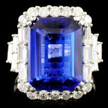 18K Gold 8.03ct Tanzanite & 1.29ctw Diamond Ring