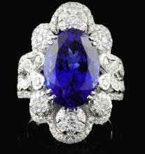 18K Gold 8.23ct Tanzanite & 1.43ct Diamond Ring