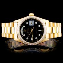 Rolex 18K YG Date-Date 1.00ct Diamond Watch