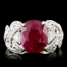 18K Gold 5.14ct Ruby & 1.29ct Diamond Ring