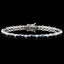 18K White Gold 1.98ctw Fancy Color Diamond Bracele