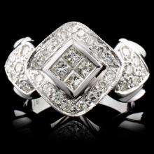 18K White Gold 0.97ctw Diamond Ring