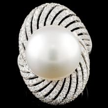 18K Gold 15mm Pearl & 1.41ctw Diamond Ring