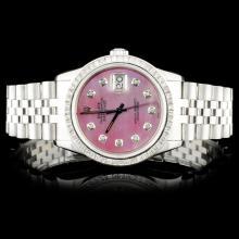 Rolex SS DateJust 3.00ct Diamond Wristwatch