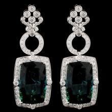 18K Gold 45.96ct Tourmaline & 3.58ct Diamond Earri
