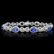 18K Gold 5.52ct Tanzanite & 4.38ct Diamond Bracele