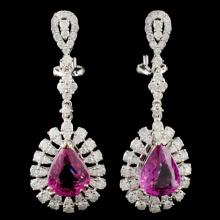 18K Gold 5.84ctw Sapphire & 2.16ctw Diamond Earrin