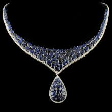 18K Gold 43.98ct Sapphire & 2.53ctw Diamond Neckla