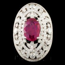18K Gold 4.07ct Ruby & 2.51ctw Diamond Ring
