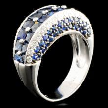 18K Gold 4.46ct Sapphire & 0.58ctw Diamond Ring