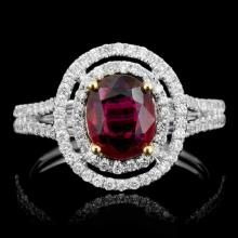 18K Gold 1.01ct Ruby & 0.50ct Diamond Ring