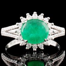 18K Gold 1.38ct Emerald & 0.34ctw Diamond Ring