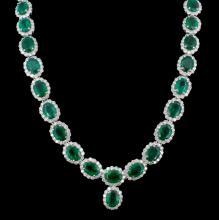 14K Gold 41.47ct Emerald & 10.92ct Diamond Necklac