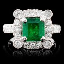 18K Gold 1.63ct Emerald & 1.04ctw Diamond Ring
