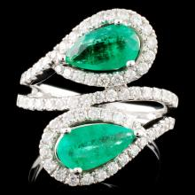 18K Gold 1.80ct Emerald & 0.76ctw Diamond Ring