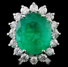 18K Gold 11.30ct Emerald & 2.54ct Diamond Ring