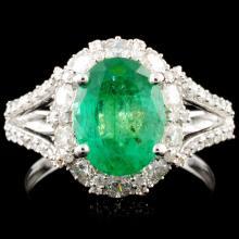 18K Gold 2.23ct Emerald & 1.17ctw Diamond Ring