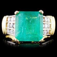 18K Gold 4.65ct Emerald & 0.63ct Diamond Ring