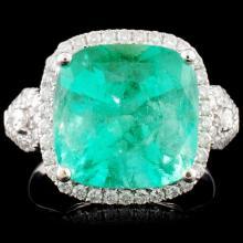 18K Gold 6.76ct Emerald & 0.65ctw Diamond Ring