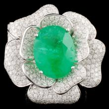 18K Gold 11.21ct Emerald & 5.52ctw Diamond Ring