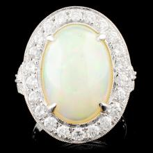14K Gold 4.70ct Opal & 1.31ctw Diamond Ring