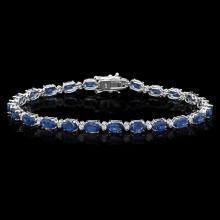 `14k Gold 12ct Sapphire 0.54ct Diamond Bracelet