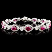 18K Gold 6.25ctw Ruby & 2.60ctw Diamond Bracelet